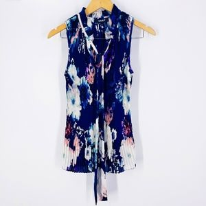 DKNY floral pleated tie neck blouse sleeveless
